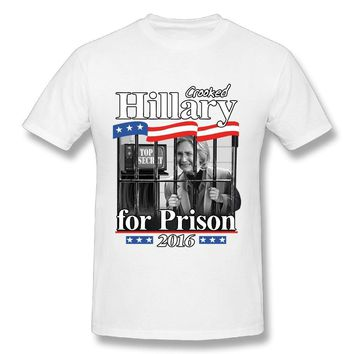 2016 Hillary Crooked For Prison Mens Breathable Short Sleeve Tshirt