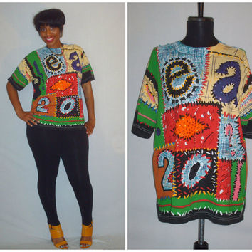 Vintage 1990s Colorful Sequence Beaded Shirt