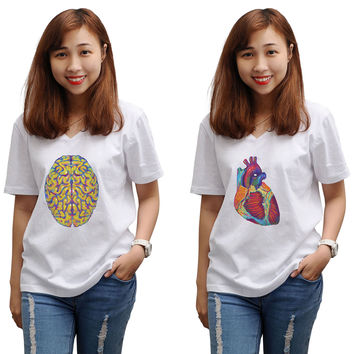 Women Heart & Brain Printed V-Neck Short Sleeves T-shirt WTS_16
