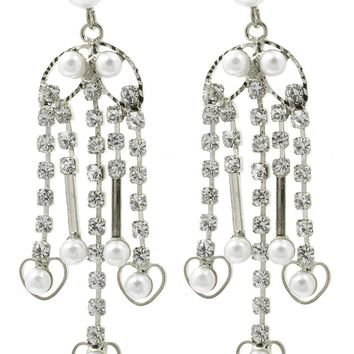 Cream Rhinestone And Pearl Chandelier Earring