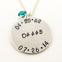 Personalized Memorial Necklace, Remembrance Jewelry, Commemorative, Hand Stamped Name, Birth and Death Date, In Sympathy Loss of a Loved One