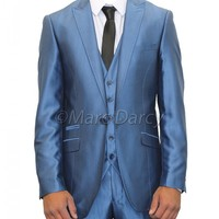 Mens Metallic Blue Three Piece Slim fit Suit ideal for weddings (Kent)