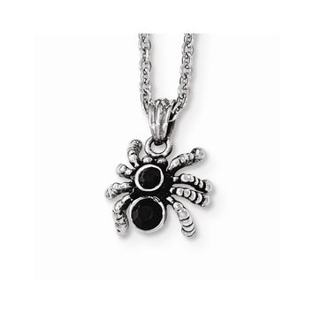 Stainless Steel Antiqued and Polished with Crystal Spider Necklace
