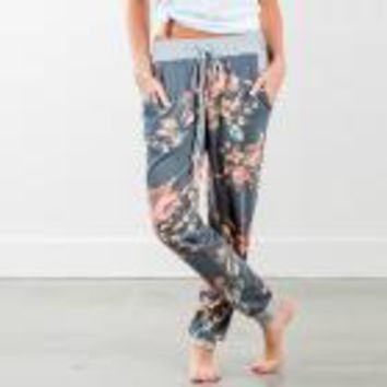 2017 Fashion Sweat Pants Women Floral Printed Loose Stretch High Waist Wide Leg Long Pants Trousers Tapered Leg Pants Sexy Pants