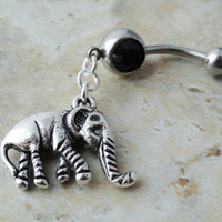 Black Crystaled Elephant Belly Button Ring Jewlery
