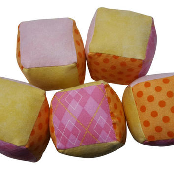 Soft Baby Blocks in Orange, Pink and Yellow Flannel