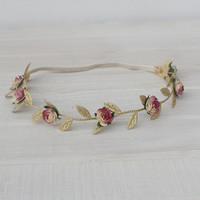 Greek Crown with Pink Flowers Gold Headband