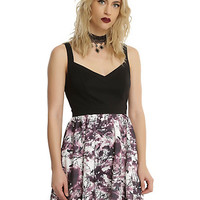 Black & Purple Raven & Branch Print Dress