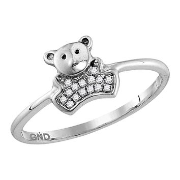 10kt White Gold Women's Round Diamond Teddy Bear Cluster Ring 1/20 Cttw - FREE Shipping (US/CAN)