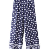 Dark Blue Folk And Elephant Print Palazzo Pants