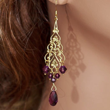 Bridal Earrings, Gold Chandelier Earrings, Amethyst Pearl Crystal Earrings, Bridesmaids Burgundy Earrings - pick your colors