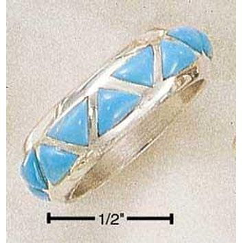 Sterling Silver Ring:  Inverted Reconstituted Turquoise Triangles Wedding Band Ring