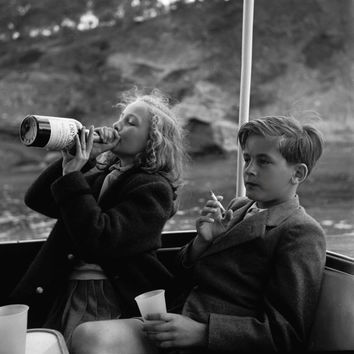 Vintage photo kids drinking and smoking children crazy photo antique photograph 1950s-PRINT