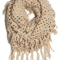 DRY77 Knitted Fishnet Chain Loop Eternity Infinity Scarf