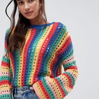 ASOS DESIGN crochet sweater with flared sleeve in bright stripe at asos.com