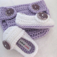 Baby Girl Shoes / Slippers / Booties and Diaper Cover Purple & White SET - YOUR choice size - (newborn - 12 months) - photo prop - clothing
