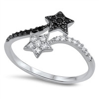 925 Sterling Silver Simulated Black Diamond Light and Dark Stars Split Ring 13MM