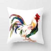 Rooster Throw Pillow by SurenArt