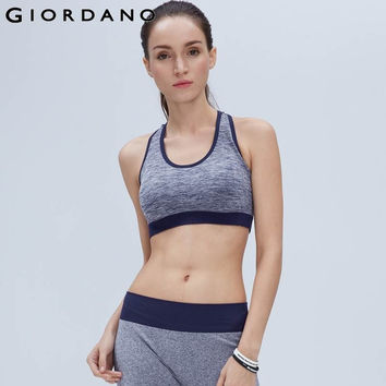 Giordano Women Tank Sports Gym Top Crop Knitted Padded Tanks Fitness Haut Sport Colete Feminino Inverno Blusas Bustier