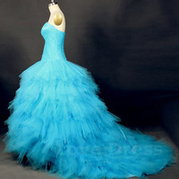 Soft Tulle Blue Color Princess Style Handmade Wedding Dress