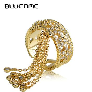 Blucome Luxury Cubic Zircon Tail Rings For Women Brand Desgin Party Statement Accessories Tassel Copper Rings For Wedding Woman