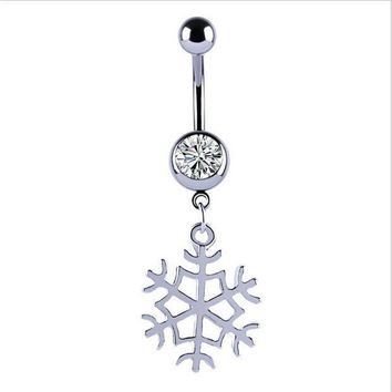 ac ICIKO2Q New Snow Flower Dangle Belly Button Ring Sexy Crystal Double Piercing Barbell Surgical Steel Navel Piercing Fashion Body Jewelry