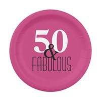 50 and Fabulous | Elegant Type Fuchsia Birthday Paper Plate