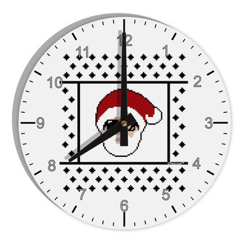 "Cool Santa Christmas Sweater 8"" Round Wall Clock with Numbers"