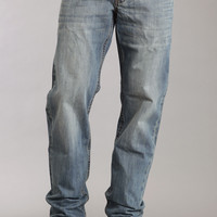 Stetson Mens 1520 Fit Standard Straight Leg Jeans Med Wash W/back Knee Tacking