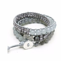 Stacked Seed and Stone Wrap Bracelet
