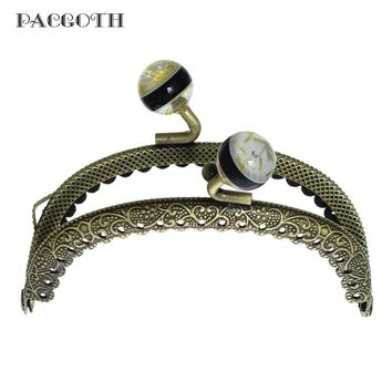 PACGOTH Iron Alloy Kiss Clasp Lock Purse Frame Arch Antique Bronze Vine Black Resin Ball 8.5cm x6.5cm, 3 PCs