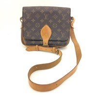 AUTH Louis Vuitton Monogram Canvas leather Cartouchiere MM Shoulder Bag