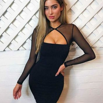 ICIKG2C 2018 Trending Black Herve Leger bandage dress long sleeved Lace Applique bodycon Fashion women prom dress