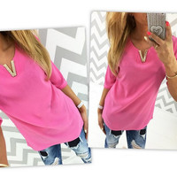 V-Neck Chiffon Shirt with V Design