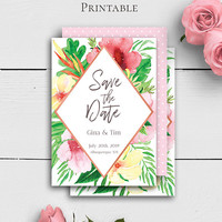 Tropical Wedding Save the Dates, Customized Wedding Template, Watercolor Floral Save the Date, Tropical Save the Date, Engagement