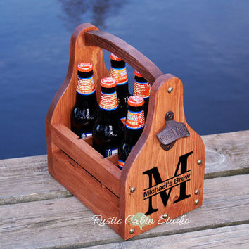 Rustic Beer Carrier, Personalized Beer Caddy, Monogram Beer Tote, Wedding Gift - Chunky