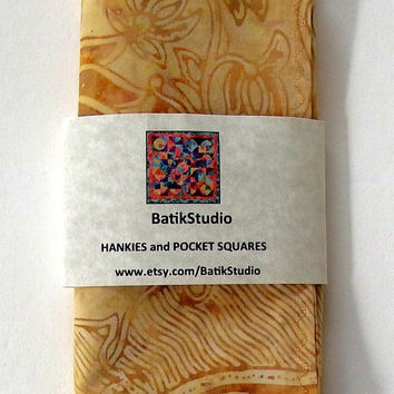 "Golden Batik Pocket Square / Amber Hankies / 13.5"" Square / Wedding Hanky / Batik Handkerchief / Yellow Pocket Square / Amber Pocket Squares"