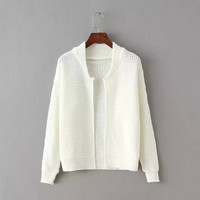None Button Long-Sleeve Knitted Cardigan