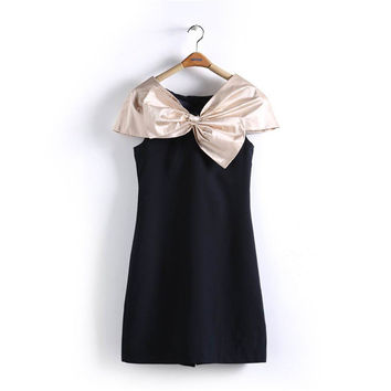 Black Sleeveless Contrast Big Bow Mini Bodycon Dress