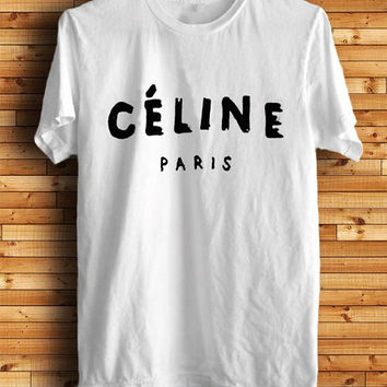 Celine Paris Black and White Crew Neck T-Shirt and Tank Top. Small to X-Large.