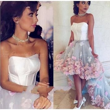 Vestido de festa 2017 Cheap Handmade 3D Flower High Low Prom Dress Dubai Caftan Arabic Short Front Long Back Evening Dresses
