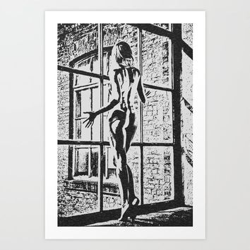 Gallery quality Giclée art print - Set me Free, sexy girl at window, BW sketch