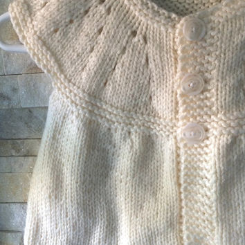 Knit Baby Cardigan - Baby Clothes - Baby Girl Clothes - Handmade Gift - Neutral Colour Cardigan - Toddler Knit Sweater - Baby Sweater