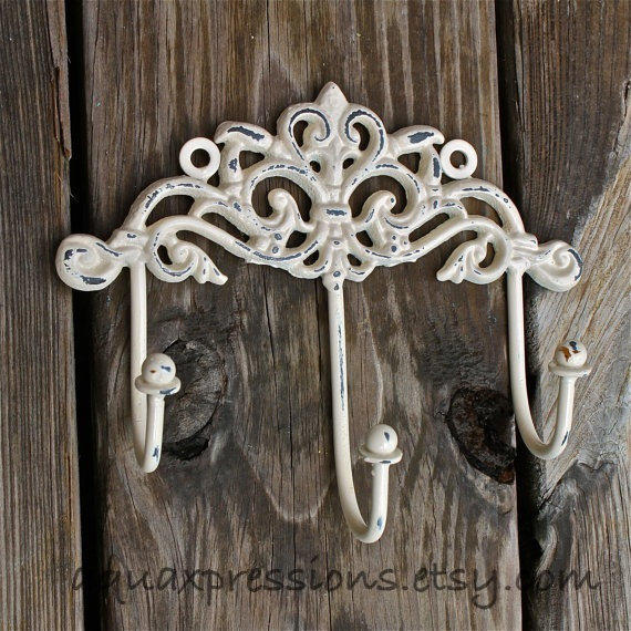 wall metal hooks ivory painted shabby from aquaxpressions on. Black Bedroom Furniture Sets. Home Design Ideas