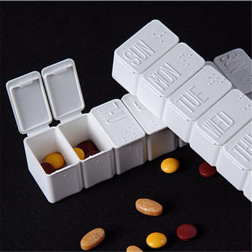 Portable 7 Slots Weekly Pill Box Moistureproof Medicine Holder with Braille Drugs Organizer Container Health Care free ship