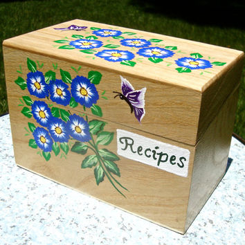 Hand Painted Recipe Box With Flowers And Butterflies, Unique Gift Ideas