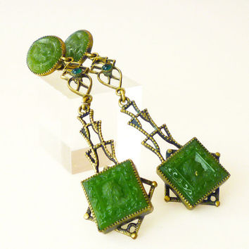 Art Deco Earrings Roman Greek Soldier Nobleman Green Glass Intaglio Antique Jewelry