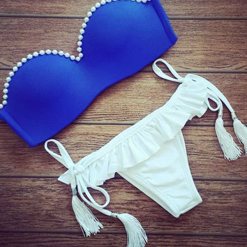 Swimsuit Summer Hot Beach New Arrival Swimwear Pearls Blue Sexy Bikini [6048406209]