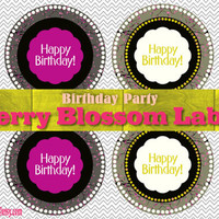 Cherry Blossom Birthday Labels - Printable Labels - Printable Tags - Printable Cake Toppers - Cupcake Labels - Instant Download - size A4