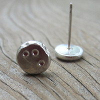 Modern Silver Posts, Organic Silver Pebble Studs